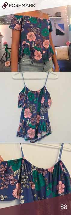 NWT floral off the shoulder top Pretty off the shoulder top with a curved hem. It is a little bit shorter in the front than it is in the back of the top. Size large but fits more like a medium. one clothing Tops Blouses