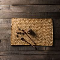 Japón Estilo de Paja Tejida Mantel de Mesa Creativa Decoración Inicio/Restaurante Uso Almohadilla Resistente Al Calor Estera Té Vajilla