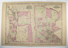 1800s Oregon Map Washington Minnesota Map 1867 Johnson Map, Historical Map, Unique Birthday Gift, Wedding Gift for Couple, Vintage Art Map available from OldMapsandPrints on Etsy