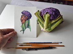 Meyve ve Sebzelerden Sulu Boya Karakterlere  #illustration #watercolor #painting #characterdesign #drawing #art #illüstrasyon #suluboya #karaktertasarımı #sanat