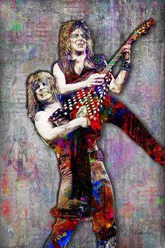 Ozzy Osbourne and Randy Rhoads Poster, Ozzy & Randy Yellow Background, Ozzy Tribute Fine Pop Art