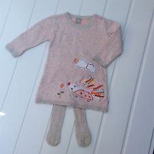 Baby Girl 3-6 months Hedgehog Spotty Jumper Dress Outfit Free Tights Winter