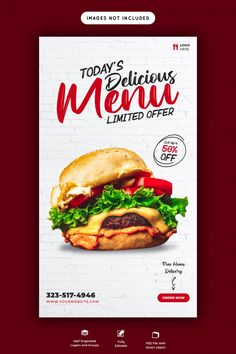 Food Menu Design, Food Poster Design, Food Menu Template, Flyer Template, Ads Banner, Banner Ideas, Banners, Burger Menu, Menu Flyer