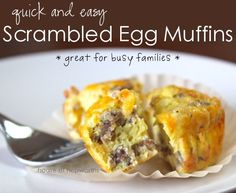 Scrambled Egg Muffins: A quick and easy recipe that won't leave you scrambling on school mornings. Scrambled Egg Muffins are easy to make, can be prepared ahead of time, and can be ready in less than a minute on busy mornings. They are also packed with protein and will keep you fuller longer, which helps the children stay focused at school. Recipe can be found at Houseofhepworths.com.