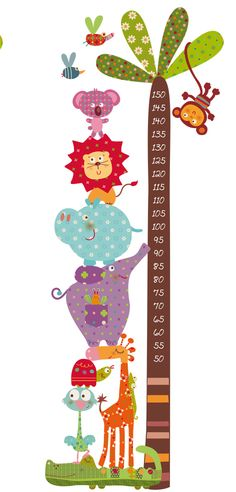 decohappy news - - jungle animals meter - decohappy news – – jungle animals meter - Nursery Design, Nursery Art, Diy And Crafts, Crafts For Kids, Height Chart, School Decorations, Clipart, Baby Quilts, Playroom
