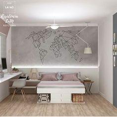 Este projeto esbanja personalidade ! 💁🏻♀ ✨A cliente, que é completamente apaixonada por viagem, agora terá o mundo inteiro em seu quarto 🌎 ✈️ O mapa geométrico sobre a parede de cimento queimado ficou incrível! 🗺 💕 E os detalhes na cor rose dão o toque feminino ao ambiente! 🌸Fiquem de olho, em breve postaremos mais detalhes deste projeto 👀#studiolaac #decoracao #quartofeminino #mapamundi #amoviajar #viajarépreciso #cidadaodomundo #loucosporviagem #quartodecorado #instahome #instade Room, House, Interior, My Room, New Homes, Room Inspiration, Room Decor, Room Inspo, Bedroom