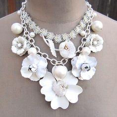 Bridal Statement Necklace Vintage Wedding Bib White Enamel Flower Chunky Repurposed Necklace - Do It The White Way. $189.00, via Etsy.