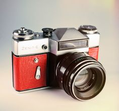 Zenit E Red Skin / Vintage 35mm Film SLR / LightBurn Refubrished Camera / Helios 44-2 lens / £36.99