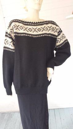 Dale of Norway Norwegian Nordic Black Ivory Wool Bateau Pullover Ski Sweater XL #DaleOfNorway #BoatNeck
