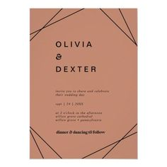 Modern Geometric | Copper Casual Wedding Invite in a burnt orange, desert rust color with rustic bohemian typography and boho diamond and triangle shapes with a modern chic industrial feel. Click to customize with your personalized details today.