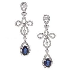 Sapphire and Diamond Earrings #wedding #jewelry...too long for a dangling earring - may be made to a pendant on a choker instead...