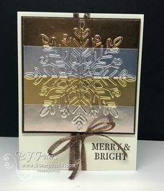 LOVE, LOVE, LOVE this foil cardstock from Stampin' Up!   Check out this gorgeous card.  Video on my website!   #stampinBJ.com