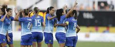 Brazil's Maurine Dorneles, second from left, celebrates her goal against Colombia with teammates during the second half of a gold medal Pan Am Games soccer match Saturday, July 25, 2015, in Hamilton, Ontario. (AP Photo/Gregory Bull)