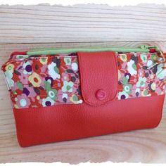 Portefeuille multifonction, simili rouge & coton fleuri