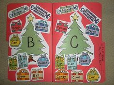 Christmas file folder, sorting word gifts that begin with B or C