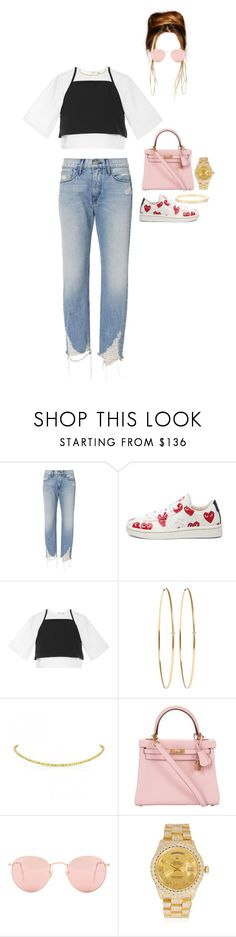 """""""Leaving a bar with friends Jack and Asia"""" by nytown ❤ liked on Polyvore featuring 3x1, Play Comme des Garçons, Rosie Assoulin, Jennifer Meyer Jewelry, Hermès, Ray-Ban and Rolex"""