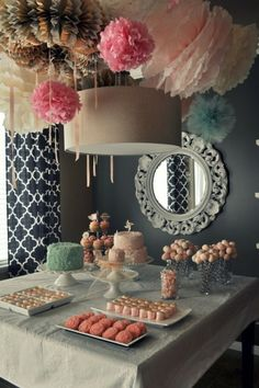 I cannot find the original source for this pic, but I just had to pin it! Completely in *love* with the color palette and all the fun pom-poms hanging from the ceiling! 1st Birthday Parties, 1st Birthdays, Tea Parties, 40th Birthday, Surprise Birthday, 18th Birthday Ideas For Girls, Vintage Birthday, Project Nursery, Party Mottos