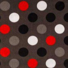 Red, White & Gray Dot Fleece Fabric