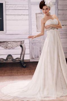 A-line White Train Chiffon Chapel Crystals/Flowers Glamorous Zipper Floor-length Natural Sleeveless Sweetheart Wedding Dress