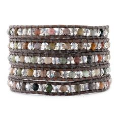 Fancy Jasper and Silver Shade Crystal Wrap Bracelet on Natural Grey Leather