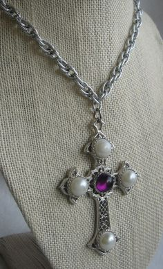 "VTG Sarah Coventry ""Crusader"" Cross Pendant Purple & Faux Pearl Cabs LONG 48""  #SarahCoventry #Cross"