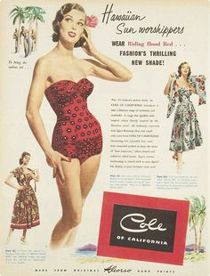 Vintage Cole of California Swimwear Red Fashion, 1950s Fashion, Vintage Fashion, Fashion Ideas, Fashion Outfits, Vintage Summer Outfits, Vintage Dresses, Beach Outfits, Vintage Glamour