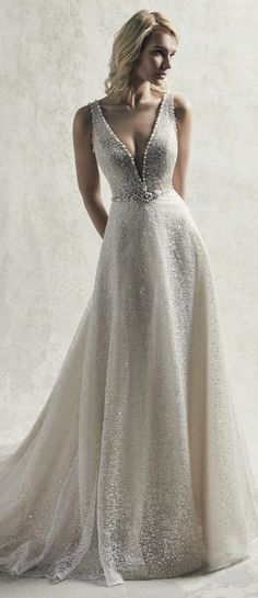 Maggie Sottero Wedding Dresses Modern with a vintage twist wedding dress featuring all over sequin tulle Western Wedding Dresses, Wedding Dress Trends, Sexy Wedding Dresses, Princess Wedding Dresses, Bridal Dresses, Wedding Dress Abroad, Wedding Gowns, Maggie Sottero Wedding Dresses, Beautiful Dresses