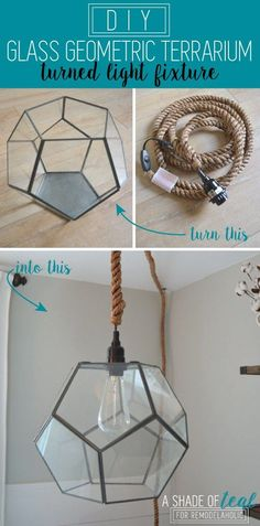DIY Geometric Terrarium Light by A Shade of Teal featured on Remodelaholic - All For Decoration Geometric Pendant Light, Diy Pendant Light, Pendant Lighting, Wood Bead Chandelier, Chandeliers, Diy Lampe, Diy Light Fixtures, Miniature, Glass Terrarium