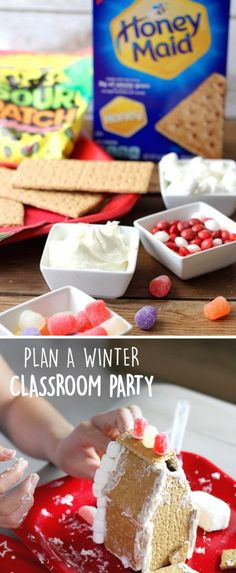 Whether you're looking for a fun activity for your kids at home or for the kids at school, this inspiration for planning a winter classroom party is perfect for celebrating the holiday season. Your kids will especially love making their own graham cracker houses using HONEY MAID Graham Crackers, frosting, and plenty of candies—like Sour Patch Kids. Simply grab all the supplies at Walmart and get creating these festive landscapes.
