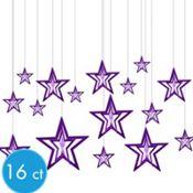 3D Purple Star Hanging Decorations 16ct