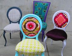 "Divine Chair - Designer Kitty McBride masterfully updates vintage chairs with modern fabrics. The result is the Divine Chair. Kitty cleverly takes vintage chairs and treats each of them to a personalized ""chair-lift. Antique Chairs, Vintage Chairs, Vintage Furniture, Painted Furniture, Funky Chairs, Colorful Chairs, Furniture Projects, Furniture Makeover, Diy Furniture"