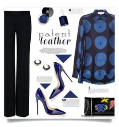 """""""Patent Leather Shoes and Bag"""" by kiki-bi ❤ liked on Polyvore featuring STELLA McCARTNEY, Christian Louboutin, Dsquared2, Essie, Syna, Blue, christianlouboutin, patentleather and polkadotshirt"""