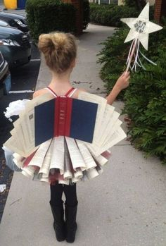 Book fairy costume recycled books skirt and wings made from recycled books!Book fairy costume recycled books skirt and wings made from recycled books! Halloween Parade School PlayOver 30 creative uses for old Diy Halloween Costumes For Kids, Holidays Halloween, Diy Costumes, Halloween Crafts, Halloween Decorations, Halloween Party, Costume Ideas, Infant Halloween, Book Costumes