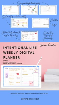 weekly for intentional living Planner Book, Weekly Planner, Create List, Image Stickers, Letter To Yourself, Productive Day, Bullet Journal Layout, 30 Day Challenge, Planner Organization
