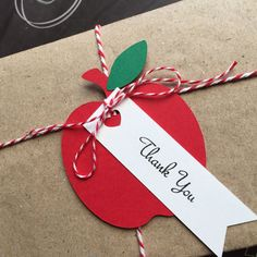 Teacher Thank-you gifts. Red Apple Gift Wrapping Tags gift embellishments. by MyPaperPlanet