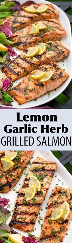 Lemon Garlic Herb Grilled Salmon - this salmon is so easy to make and the flavor is amazing! A perfect summer dinner. via Lemon Garlic Herb Grilled Salmon - this salmon is so easy to make and the flavor is amazing! A perfect summer dinner. Grilling Recipes, Fish Recipes, Seafood Recipes, Vegetarian Recipes, Cooking Recipes, Healthy Recipes, Tilapia Recipes, Healthy Snacks, Grilled Salmon Recipes