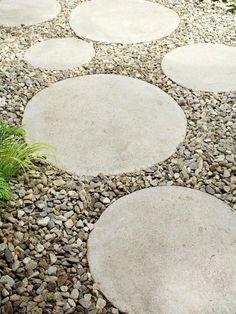 Garden design with round stone paving