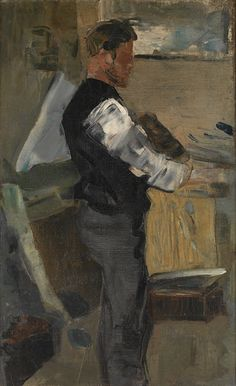 James Ensor Willy Finch in het atelier | MSK Gent olieverfschilderij ca. 1880