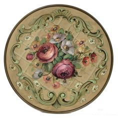 david jansen flowers with scrolls Decoupage Vintage, Decoupage Paper, Vintage Paper, One Stroke Painting, Tole Painting, Painting & Drawing, Fork Art, Norwegian Rosemaling, Painted Plates