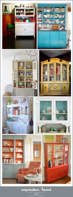 Nice collection of repainted china cabinets/hutchery.  I like the watery blue and orange one most.