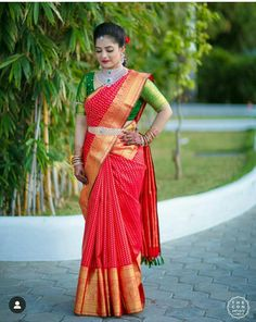 Stunning gray and red color combination kancipatu saree with big boarder. Pink color designer high neck blouse with hand embroidery work. Blouse Designs High Neck, New Blouse Designs, Half Saree Designs, Bridal Blouse Designs, High Neck Saree Blouse, Saree Dress, South Indian Wedding Saree, Indian Wedding Outfits, Bridal Silk Saree