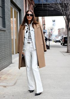 Street Style at New York Fashion Week Fall 2013. camel white and stripes.