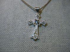 """Silver Tone Rhinestone Cross Necklace, Rhinestone Accents, 18"""" Chain, Ornate"""