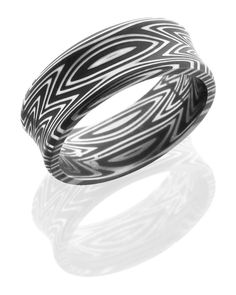 Damascus Steel 8mm Wide Concave Wedding Band with a Zebra Stripe Pattern