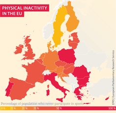'European Week of Sports' starts tomorrow. Here's an interesting infographic that my team did for the occasion. Physical Activities, Physics, Infographic, At Least, Ten Minutes, 5 Hours, Map, Sports, Europe