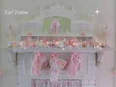 My pink shabby chic Christmas mantle :)