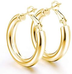 14K Gold Hoop Earrings For Women | Chunky Lightweight Real Gold Plated Loop Earrings 5mm Tube Thick Hoop Earrings Jewelry gift for women