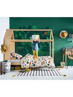 wooden cabin bed - Fill your child& room with a superb bed For small hut Robinson who wish to sleep in a wooden bed, this charming crib ser Boy Toddler Bedroom, Baby Bedroom, Kids Bedroom, Big Girl Rooms, Baby Boy Rooms, Jungle Bedroom, Wooden Cabins, Wooden Hut, Room Decor