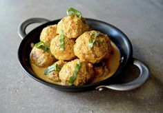 Combine bold spices for these flavorful paleo thai coconut chicken meatballs. They're gluten free, grain free, dairy free, and Whole 30 friendly.
