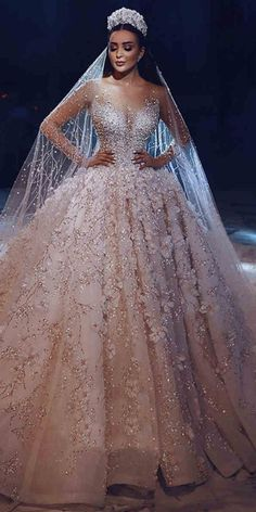 Gorgeous Wedding Dresses for Brides over 30 - Page 2 of 2 - Inspired Beauty Fancy Wedding Dresses, Sheer Wedding Dress, Wedding Dress Trends, Gorgeous Wedding Dress, Wedding Dress Sleeves, Princess Wedding Dresses, Bridal Dresses, Turkish Wedding Dress, Luxury Wedding Dress